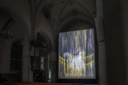 """The End of Innocence"" de Mat Collishaw dans l'Eglise Sainte-Claire. Photo © Diana Martin / Festival Images Vevey 2016"